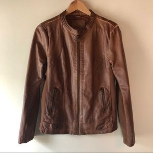 Sebby Collection Faux Leather Moto Jacket